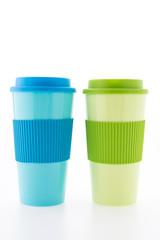 Plastic coffee mug isolated on white background