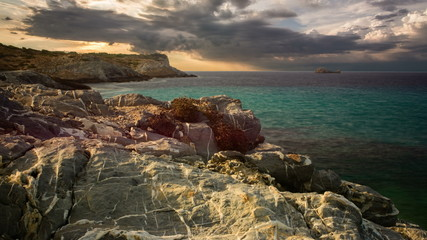 Rocky sea cliffs at sunset time lapse Majorca, Spain