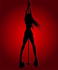 Romantic dancing girl in red light