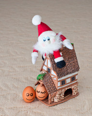 funny eggs, santa, house