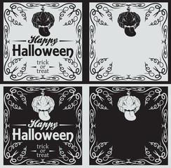 Vintage Happy Halloween greetings cards with pumpkin