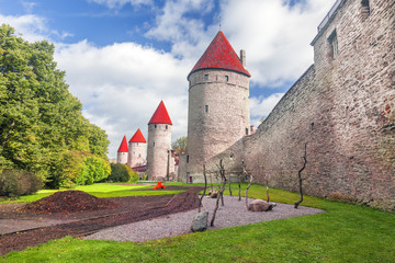 Medieval towers - part of the city wall. Tallinn, Estonia