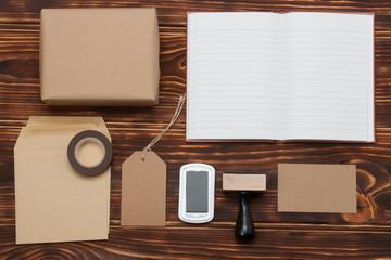 Business Identity Mock Up Item Set On Wooden Background