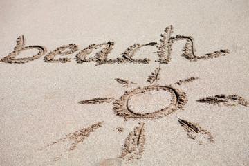 "Written on the sand ""beach"""