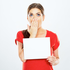 surprised woman hold white card