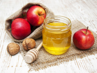 fresh honey with  walnuts and apples