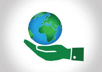 Hand holding world globe