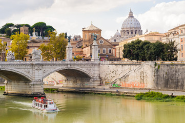 Saint Peter's Basilica and Tiber river. Rome Italy.