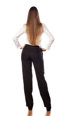 back view of young business woman with long hair