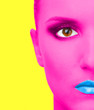 Portrait of woman with pink skin and blue lips