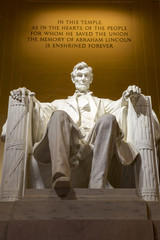 Abraham Lincoln memorial statue illuminated, Washington