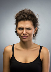 portrait of  displeased woman