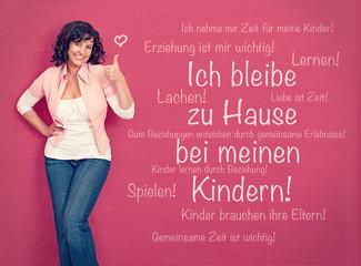 Mutter mit Erziehungskonzept-pink board 01