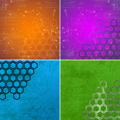 set of grunge geometric hexagon pattern