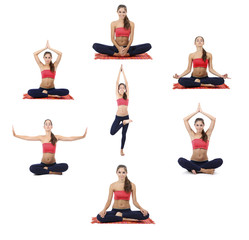 Collage of young beautiful fitness girl doing yoga exercise