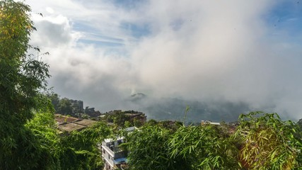 View of Palpa district from Tansen in Nepal, timelapse video
