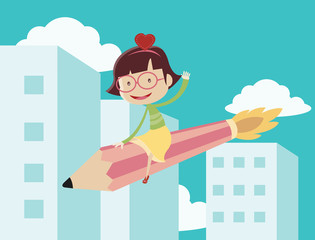 Girl riding the pencil rocket and flying over the city