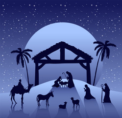 Nativity scene vector under starry sky