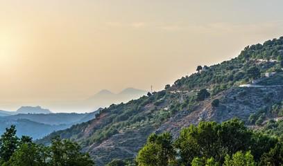 Aeolian islands,view from  Novara di Sicilia, Messina.