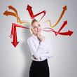 canvas print picture - junge Geschäftsfrau mit vielen Ideen