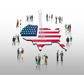 Business people standing with ladder arrow and american flag