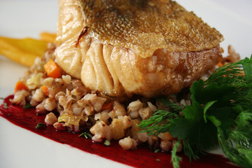 Fish fillet with buckwheat porridge