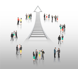 Business people standing with ladder arrow