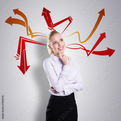 canvas print picture junge Geschäftsfrau mit vielen Ideen