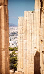 columns in acropolis of Athens, Greece
