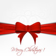 Christmas background with red ribbon and decorative pattern