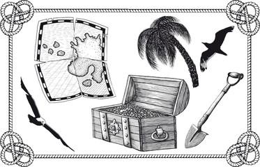set of pirate treasure