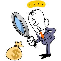 お金を見つけるビジネスマン
