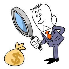 お金について検証するビジネスマン
