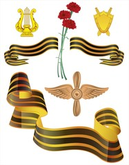 Набор военных знаков отличия и Георгиевская лента с гвоздиками.