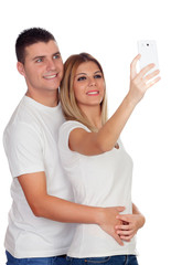 Couple taking a photo with mobile