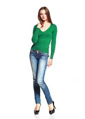 woman in blue jeans posing