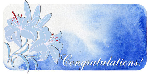 congratulations. postcard with lilies