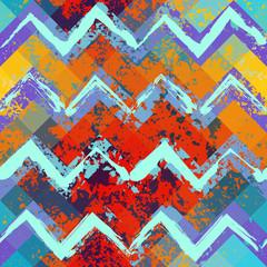 Grunge blue and orange chevron pattern.