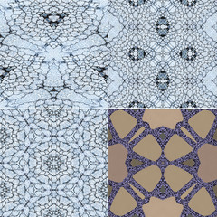 Set of four mosaics with stylized floral motifs