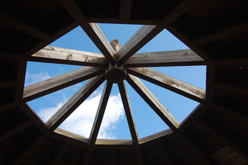 sky seen from under the gazebo