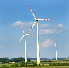 Wind turbines generating electricity, Lower Austria near Vienna
