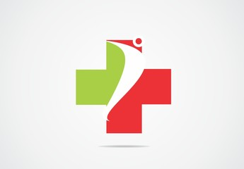 medic green red cross people logo