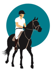 Horse and rider on blue background. Vector EPS10