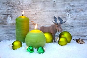 Weihnachtskarte - Adventskerzen / grün