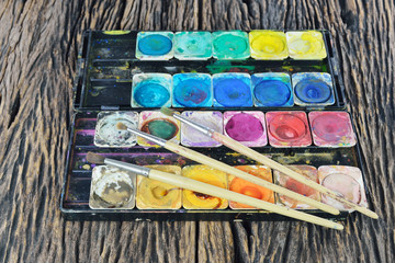 Old water color paint box