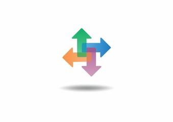 arrow cube design element business logo