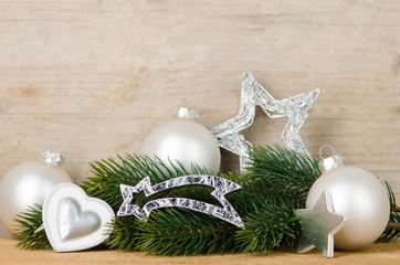 weihnachtsdekoration in silber