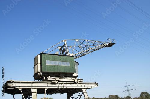 Leinwanddruck Bild Hafenkran am Stadthafen in Recklinghausen, NRW