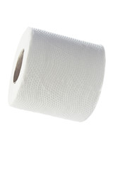 Toilet paper against white background