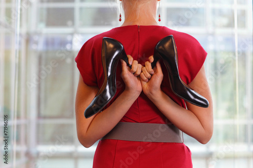 canvas print picture fit business woman in dress with two high heels